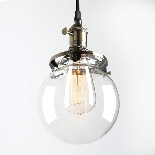Industrial Mini Pendant Light With Round Clear Glass Globe For Kitchen Island