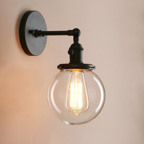 Industrial Wall Sconce with Clear Glass Globe Shade Vintage Style Farmhouse Wall Light Fixtures