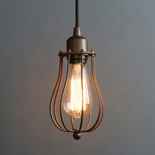 Mini Pendant Lights Wire Caged Farmhouse Style Hanging Lamp