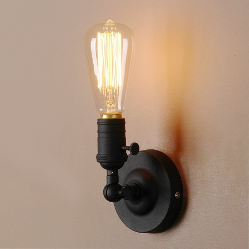 Industrial Rustic Wall Light 180 Degree Rotated Metal Base Cap Fixture Flush Mount Wall Sconce