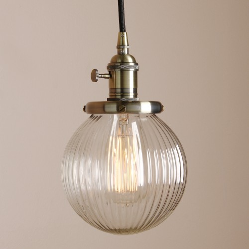 Edison Vintage Style Hanging Pendant Light Fixture with Round Clear ...