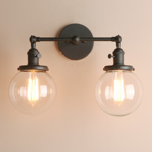 Vintage 2 Light Wall Sconce with Globe Clear Glass Shade Vanity ...