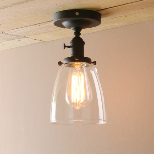 Edison Antique Industrial Flushmount Pendant Light Cloche Glass Lampshade