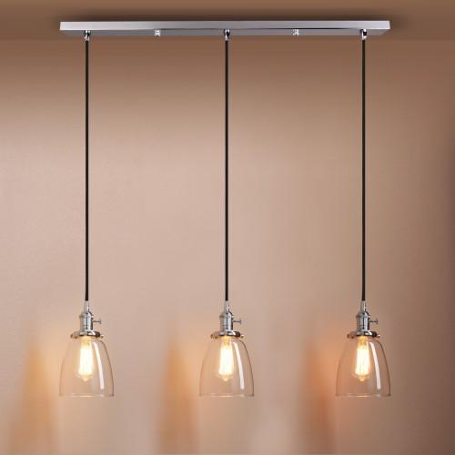 Elegant Modern Chandelier Clear Glass Pendant Cluster 3 Lights