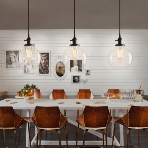Industrial Style Pendant Light With Globe Round Glass Shade For