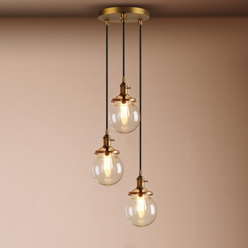 new style 9456a 1395e 3 Chandeliers Contemporary Multi-lights Glass Globe Shade Pendant Light