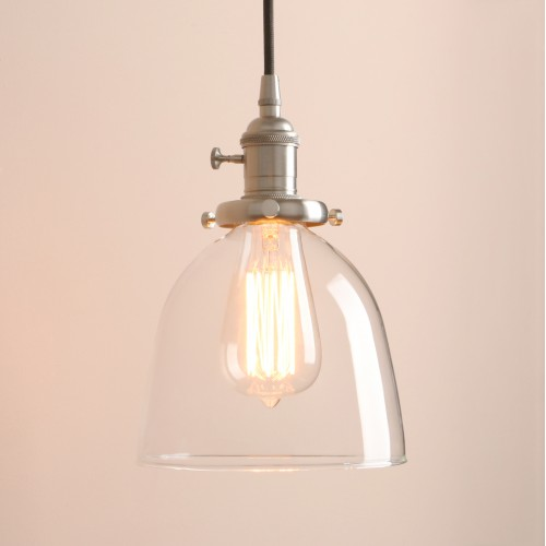 Kitchen Island Lighting with Clear Glass Shade and Vintage Style