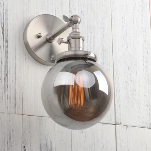 "Retro Industrial Wall Sconce with 5.9"" Globe Smokey Glass Shade"