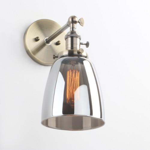 "Retro Industrial Wall Sconce 5.6"" Cloche Smoky Glass Shade Wall Light"
