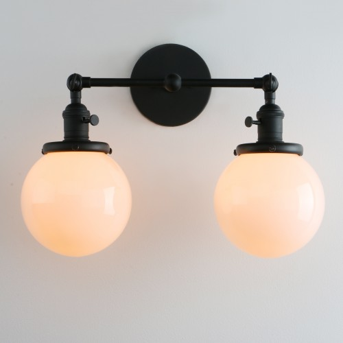Industrial Wall Sconce 2-Light Bathroom Vanity Lights with White ...