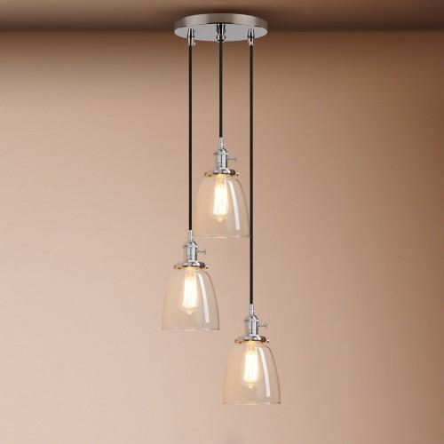 Pathson Cluster 3 Lamp Retro Industrial Cloche Glass Shade Loft Ceiling Pendant Light