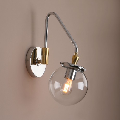 Industrial Glass Wall Sconce Lighting Adjustable Swing Arm Wall Lamp For Bedside