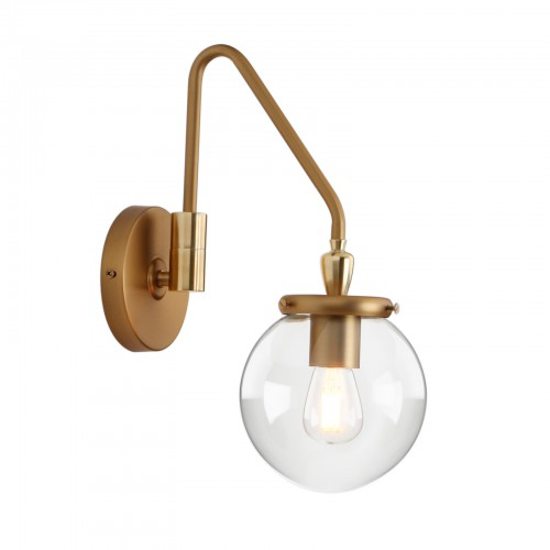 Industrial Glass Wall Sconce Lighting, Adjustable Swing Arm Wall Lamp for Bedside