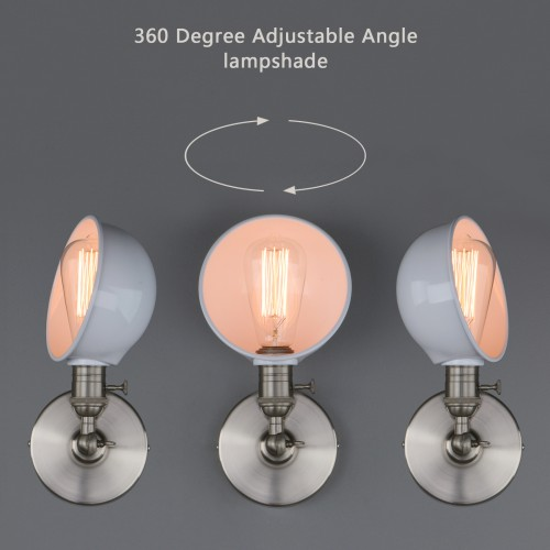 360 Rotating Retro Industrial Iron Lamp Shade Sconce Adjustable UP DOWN Wall Lamp