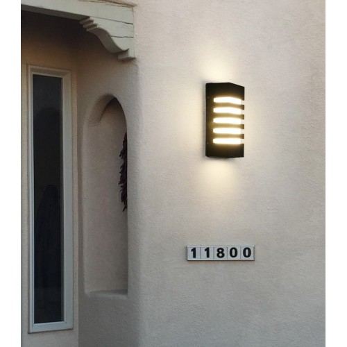 IP65 Outdoor Waterproof Wall Lamp Stripe Sconce Black 12W LED Lighting Fixture