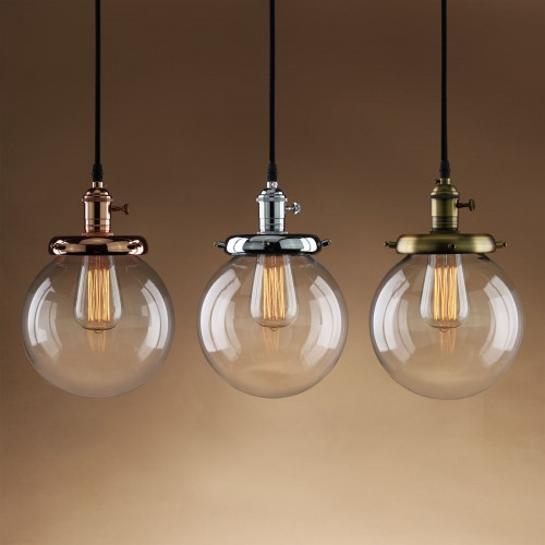 Vintage Round Globe Clear Glass Shade Pendant Light