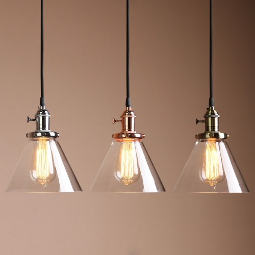 Fresh Funnel Shaped Clear Glass Shade Hanging Retro Pendant Light NT12