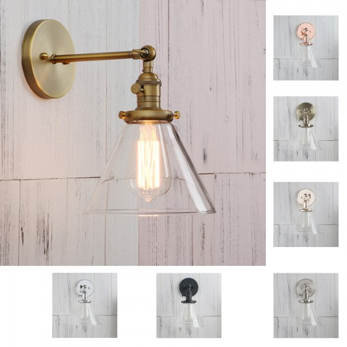 Cone Clear Glass Industrial Vintage Sconce Wall Light