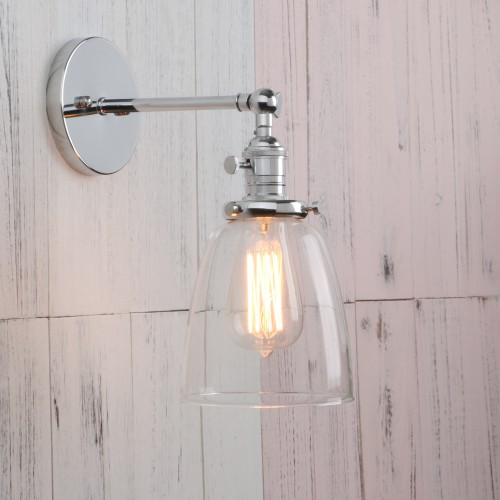 Vintage Industrial Glass LampShade Edison Filament Wall Light Sconce