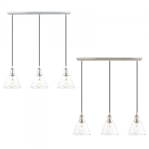 Retro Industrial Cluster 3 Funnel Lampshade Loft Brushed Ceiling Pendant Light