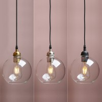"6.9"" Vintage Industrial Loft Clear Globe Glass Lamp Shade Ceiling Pendant Light"