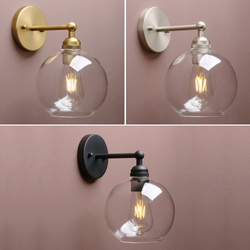 Retro Industrial Style Globe Clear Glass Lampshade Antique Bar Wall Sconce Light