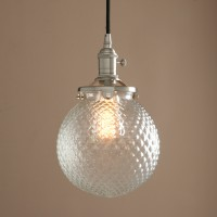 Vintage Industrial Pendant Light Retro Glass Grain Globe Shade