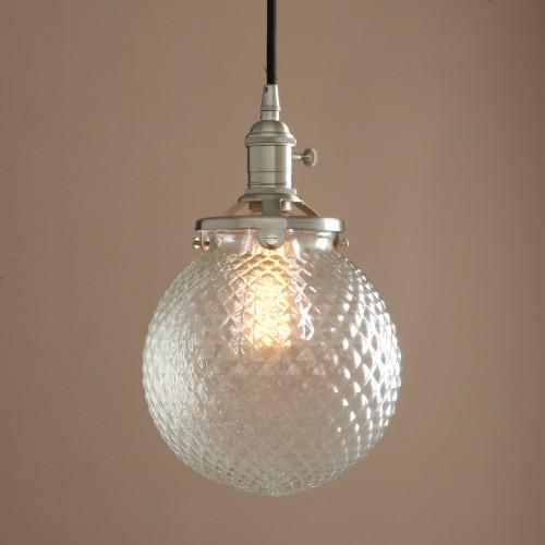 Vintage Industrial Pendant Light Retro Glass Grain Globe Shade