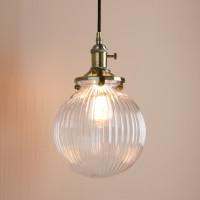 Vintage Industrial Style Stripe Glass Globe Lampshade Pendant Light