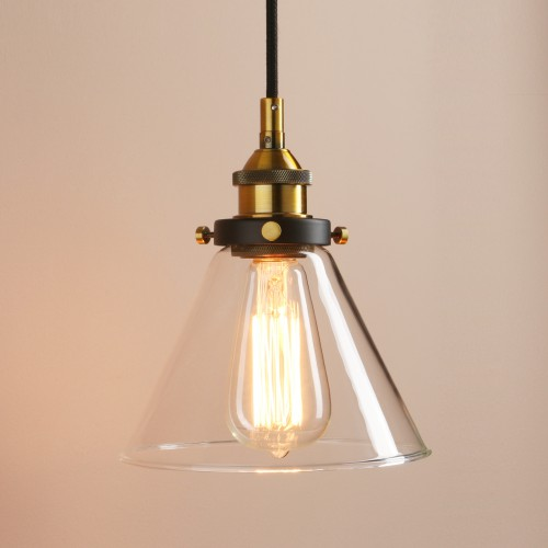 Antique Industrial Funnel Glass Shade Copper Pendant Light