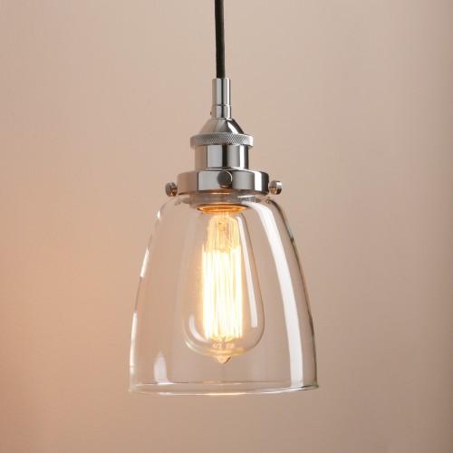 Retro Vintage Cloche Glass Shade Chandelier Copper Holder Pendant Light
