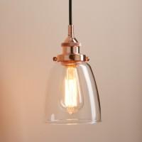 Retro Vintage Cloche Glass Shade Chandelier Copper Pendant Light