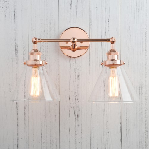 "18.5"" Funnel Glass Vintage Industrial Double Arm Rustic Sconce Wall Light"