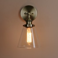 Retro Copper Holder Funnel Glass Lampshade Wall Light