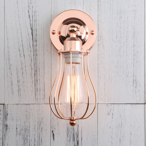 Retro Industrial Rustic Iron Cage Wall Light Sconce