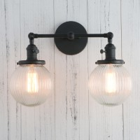 "5.9"" Fringe Globe Glass Vintage Industrial Loft Double Arm Wall Lamp Lighting Sconce"