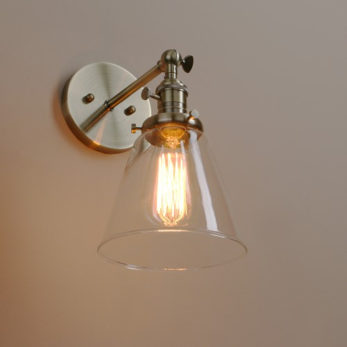 Retro Copper Holder Funnel Glass Lampshade Wall Light With Switch