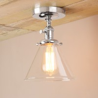 Edison Antique Industrial Flushmount Pendant Light Funnel Glass Lampshade