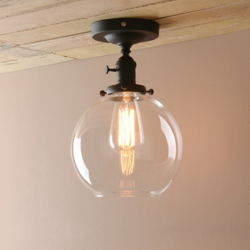"""7.9"""" Clear Glass Lampshade Retro Industrial Flushmount Pendant Light W/ a Switch"""