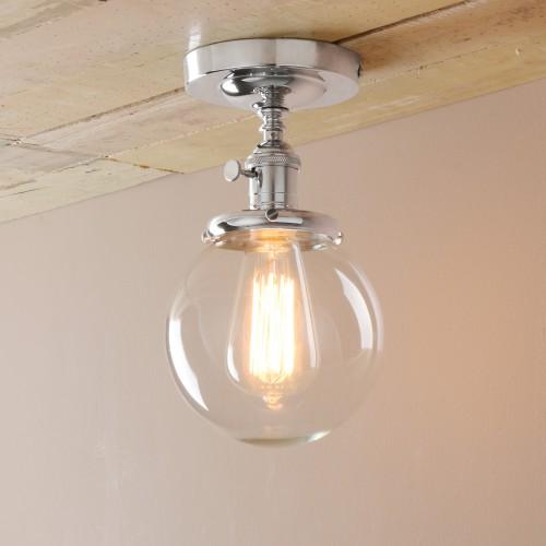 Retro Industrial Flushmount Pendant Light Globe Glass Lampshade Wall Lamp