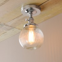 "5.9"" Retro Industrial Loft FlushMount Pendant Light Striped Glass Globe Shade"