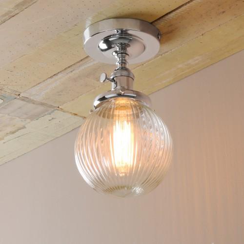 "5.9"" Retro Industrial Loft FlushMount Pendant Light Striped Glass Globe Shade"