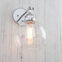 Retro Industrial Style Globe Clear Glass Wall Lamp Antique Sconce Light
