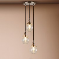 Contemporary Multi-lights Glass Globe Shade Brushed Pendant Light
