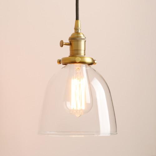 Retro Short Cloche Glass Shade Ceiling Pendant Light