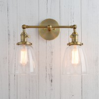 "5.6"" Cloche Glass Double Arm Vintage Industrial Loft Bar Sconce Wall Light"