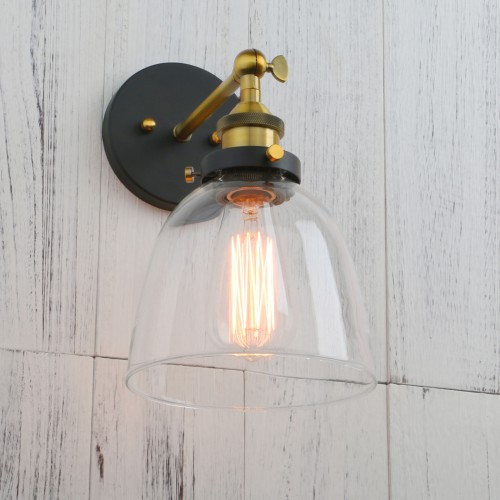 Antique Brass Industrial Clear Glass Bowl Shaped Shade Wall Light Sconce