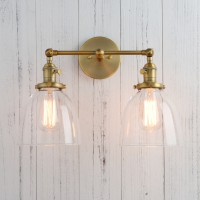 """6.7"""" Bowl Shaped Glass Double Arm Vintage Industrial Sconce Wall Light"""