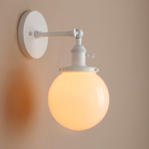 "5.9"" Globe Creamy White Glass Shade Retro Industrial Wall Lamp Sconce Light"