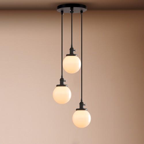 Cluster 3 Vintage Industrial Ceiling Pendant Light White Glass Loft Hanging Lamp